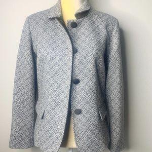 Talbots Gray Embroidered Wool Blazer NEW 14P
